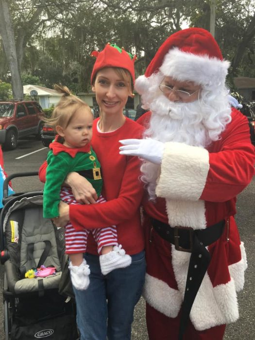 Janelle Weber, daughter, and Santa